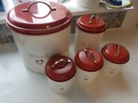 Red heart tea coffee sugar biscuits and bread canisters