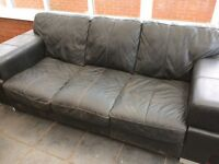 Black leather 2 & 3 seater settees - DFS