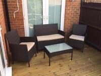 Rattan Effect Garden set & cushions - £60