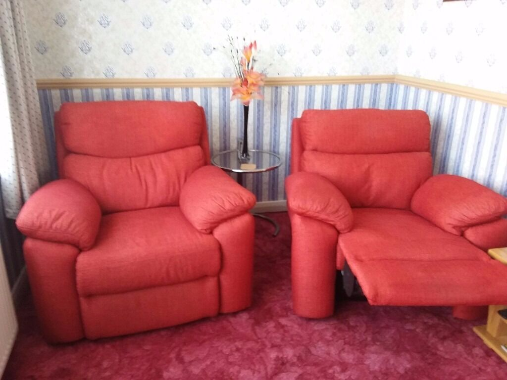 Red 3 Piece Suite 2 Power Recliner Chairs 3 Seat Settee