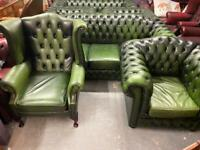 Fabulous Oxford Green three piece chesterfield deep button leather suite in lovely condition