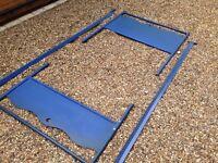 Metal single bed frame in blue