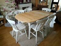 Pine shabby chic extending dining table and 6 chairs