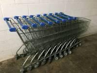 Nine supermarket trolleys