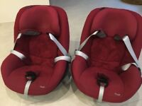2x Maxi Cosi Pearl Group 1 car seats and 2x family fix isofix bases