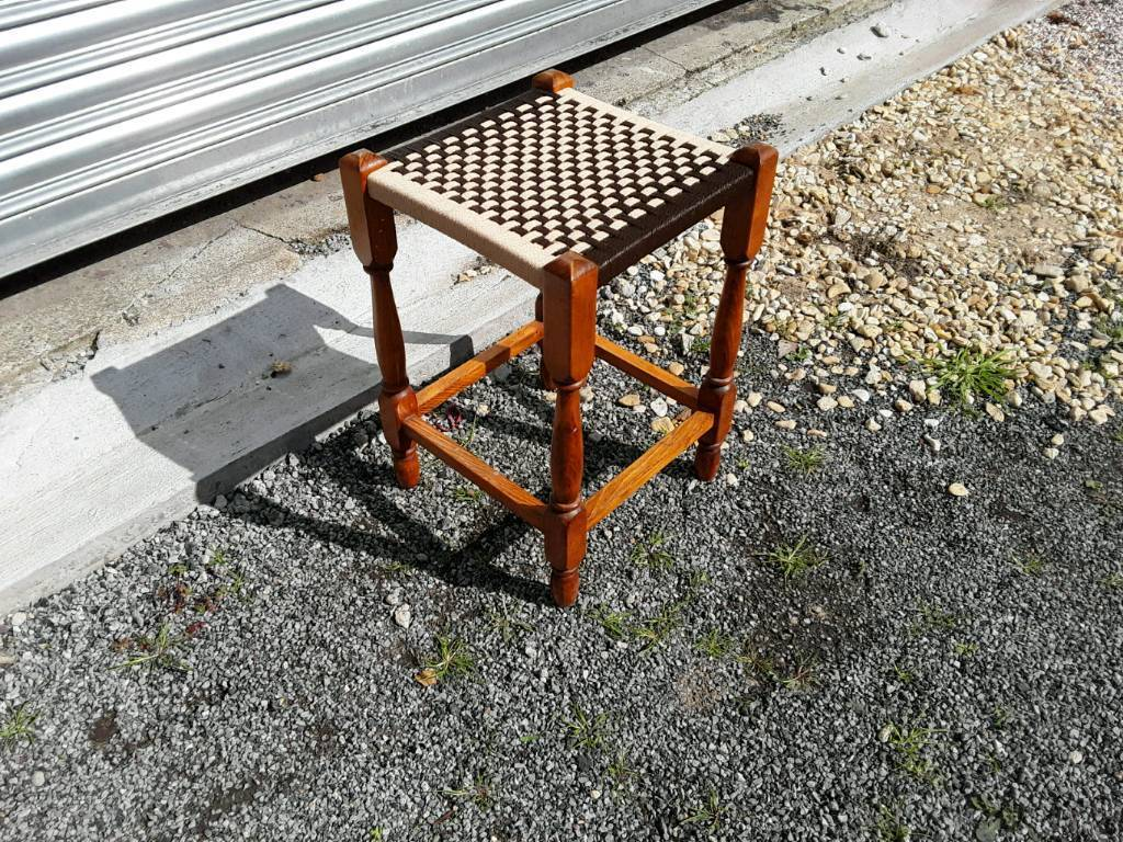Woven topped stool