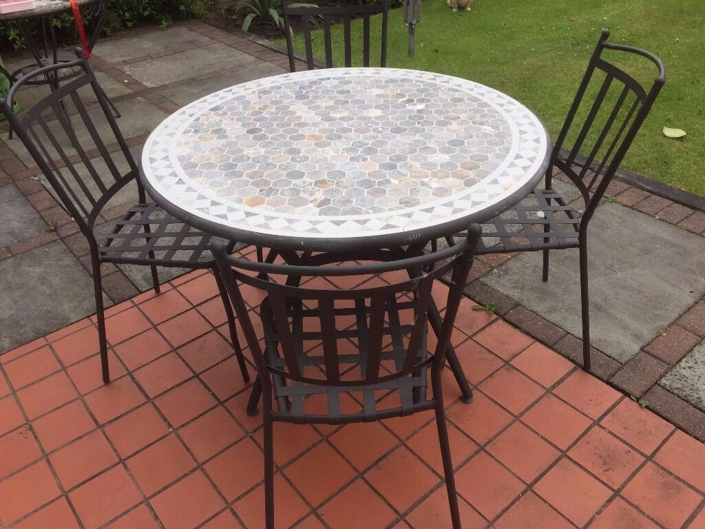 Garden Furniture Mosaic b&q sofia metal and mosaic 4 seater garden table with 4 chairs new