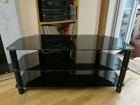 AS NEW Black Glass and Metal TV Stand + optional Bracket Mount + FREE Mini Stand