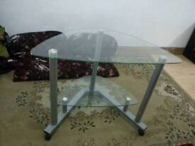 Round Glass TV table