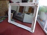 """Mirror - large, cream, beautiful ornate frame and bevelled mirror edge. 43x31"""". Lovely!"""