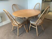 Ercol Golden Dawn dining table and chairs - light elm, Quaker style chairs, extendable table
