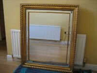 A BEAUTIFUL LARGE ORNATE GOLD MIRROR IMMACULATE