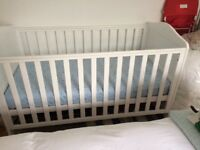 White Mothercare baby cot includes mattress