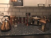 Copper kitchen kettle, toaster and accessories