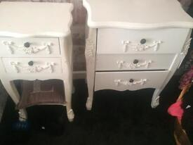 Bedside tables plus chest of draws
