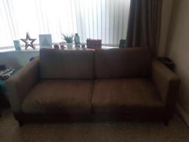 Super comfy DFS brown fabric sofa