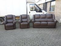 dark brown leather 3 seater sofa and 2 chairs suite