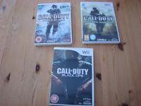 3 Nintendo Wii games - Call of Duty World at war, Modern warfare & Black Ops. Will split bu