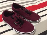 Boys Vans trainers pumps burgundy Size 1
