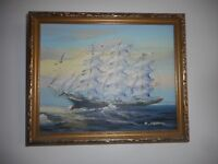 Oil Painting - Tallship in Full Sail