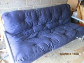 Sofa bed for sale. Aluminium frame. Blue. £40.00