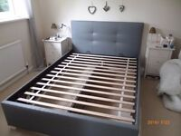 DOUBLE OTTOMAN STORAGE BED --GREY FAUX LEATHER --6 MONTHS OLD