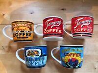 Set of 5 retro / vintage style mugs £5 Bargains!!
