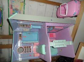 Toy Barbie House and camper van