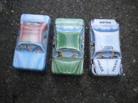 3 IAN LOGANS CARLETABLE CAR TINS 5X2 INCH