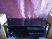 Large 3 Shelf Black Glass TV Stand Unit in Great Condition - Stereo HiFi