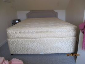 Double divan bed and mattress (Rest Assured label) with padded headboard
