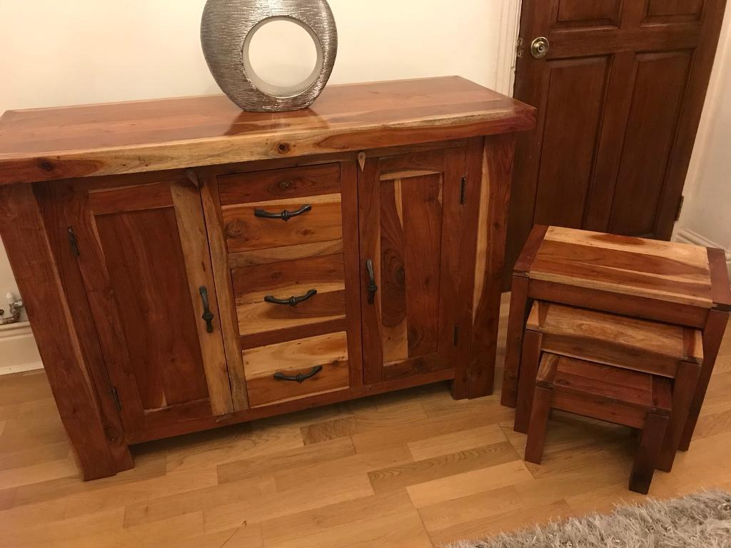 Solid Acacia Wood Side Unit Coffee Table Tv Nest Of Tables