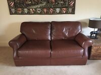 Laura Ashley Leather Large Two Seater Settee / Sofa