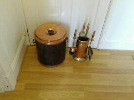 Vintage copper and brass companion set and coal bucket