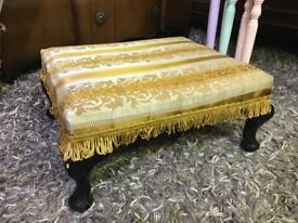 Vintage Queen Anne Style footstool cream & gold color upholstery with tassels