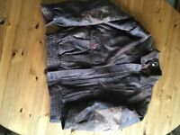 Men's brown leather jacket.
