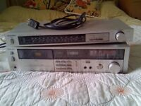 Vintage silver technics separates, tape cassette recording deck player M216 and tuner radio ST-Z35L