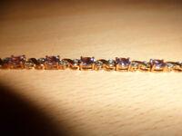 9ct gold bracelet. amethysyst & diamonds