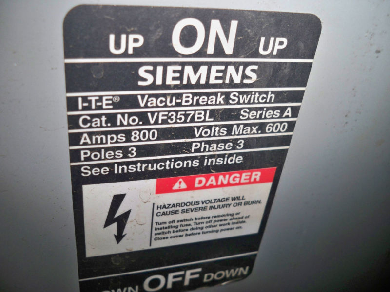 Ite / Siemens Vf357bl 800a 600v Bottom Fed Switch