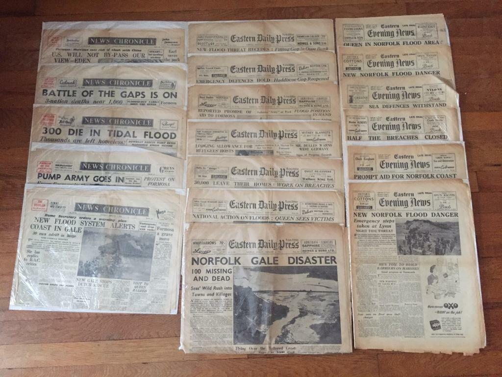 18 copies of Norfolk newspapers detailing the February 1953 Norfolk floods / storm