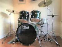 Complete Pearl Forum Drum Kit With Steel Snare Cymbals and Stands Evans Heads