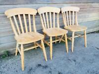 Set of Three Farmhouse Windsor Stick Back Kitchen Dining Chairs