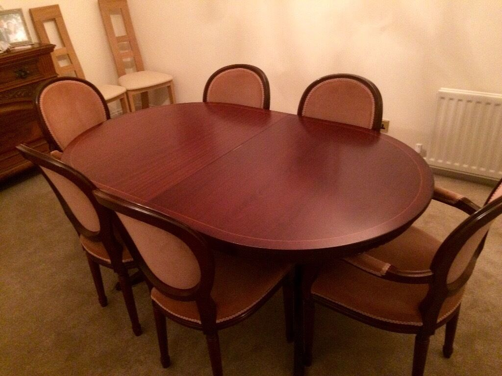 lexterten dark cherry oval dining table and 6 chairs 2. Black Bedroom Furniture Sets. Home Design Ideas