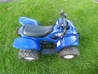 Apache 100cc 2 stroke blue quad bike.