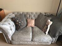 2 seater grey/silver crushed velvet sofa