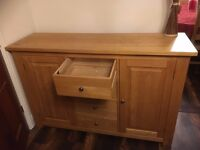 Solid wood Sideboard, Beech in Colour, good condition, WDH 145cm x 45cm x 95cm. Collection only.