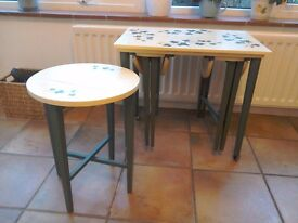 Nest of tables and small cupboard
