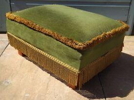 Vintage Fringed Green Footstool