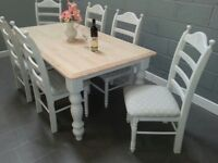 Lovely 6ft x 3ft Shabby Chic Table and Chair Set - White-Grey-Cream
