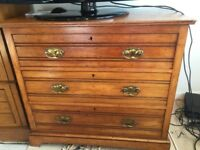 ORIGINAL VICTORIAN SATIN WOOD CHEST OF DRAWERS